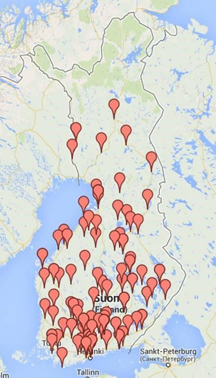 Kartta tehtaista Suomessa
